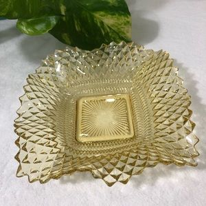 Other - Vintage Amber Cut Glass Candy Trinket Dish